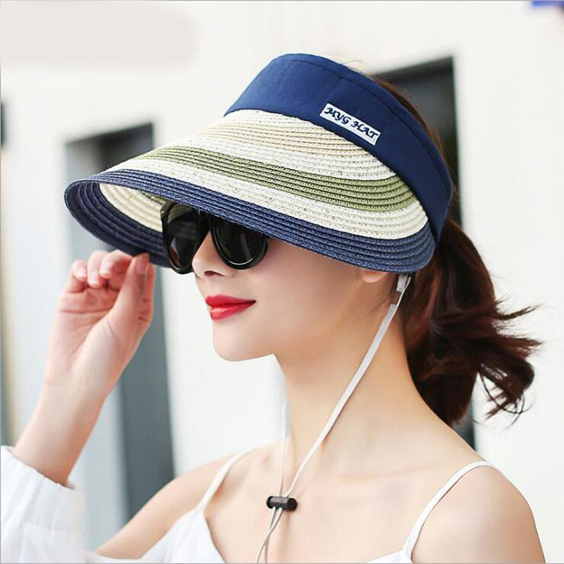 2018 Hot Fashion Beach Cap Shade Empty Top Straw Hat Female Hat Summer Big  Brim Sunscreen Folding Casual Sun Straw Hats Wedding Hats From Lantana 11fb9b25b4f6