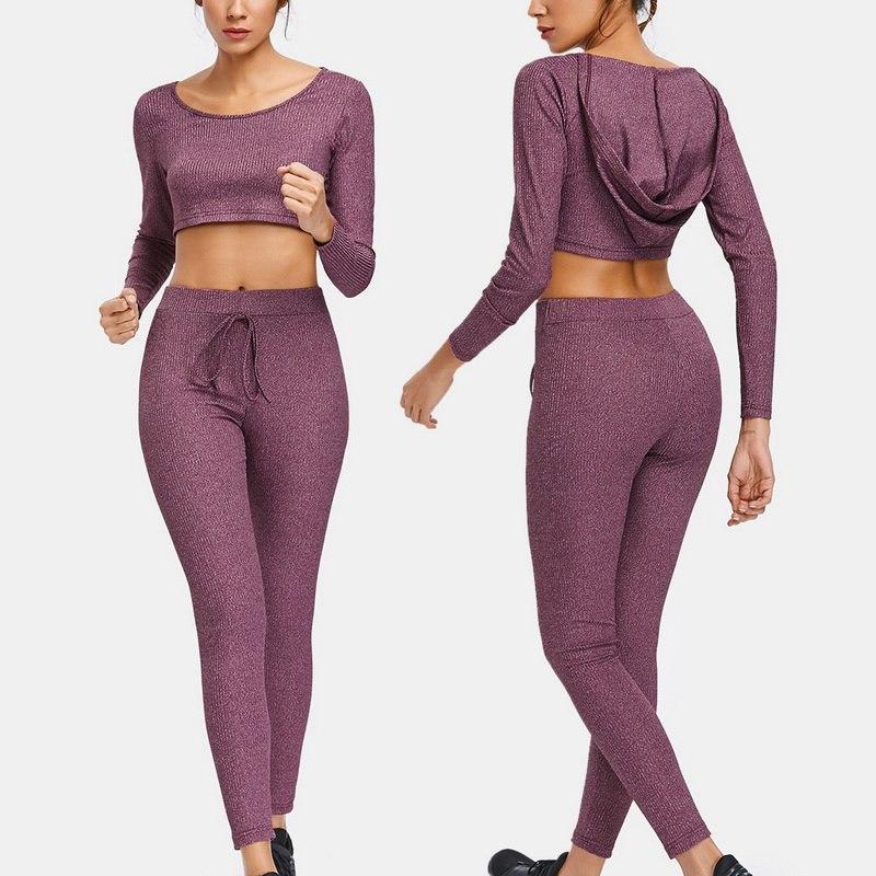 3d8082368eb Vertvie Rib Knit Hoodie+Leggings Sweat Suit Elastic Drawstring Waist Slim  Running Set Gym Fitness Hooded Crop Top+Pant Yoga Set