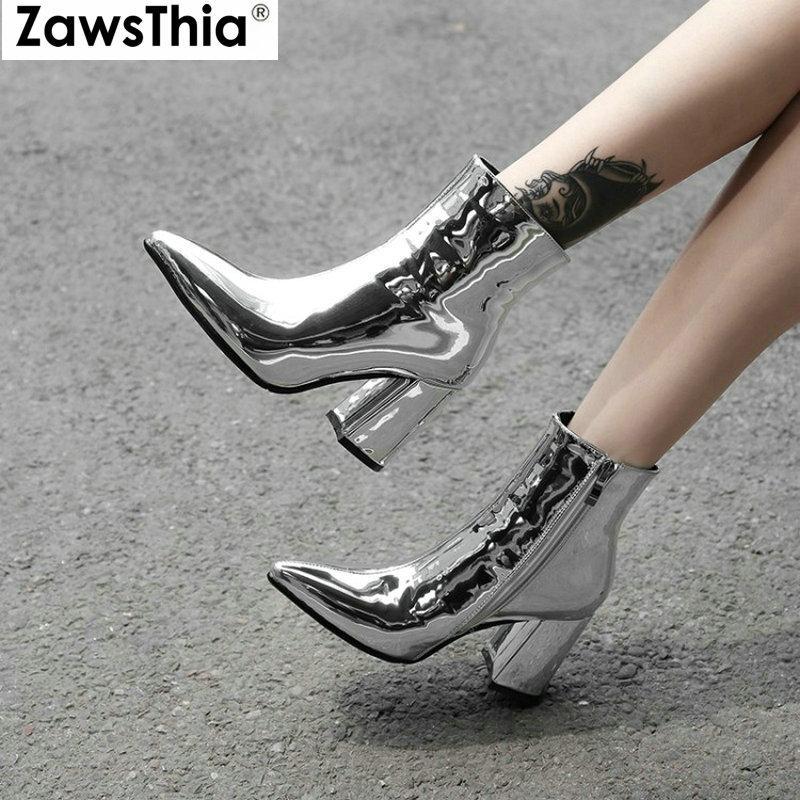 4a2ea867 ZawsThia 2019 diseñador de la marca de lujo mujer patente PU cuero plata  oro grueso tacones altos moda mujer zapatos damas tobillo botas