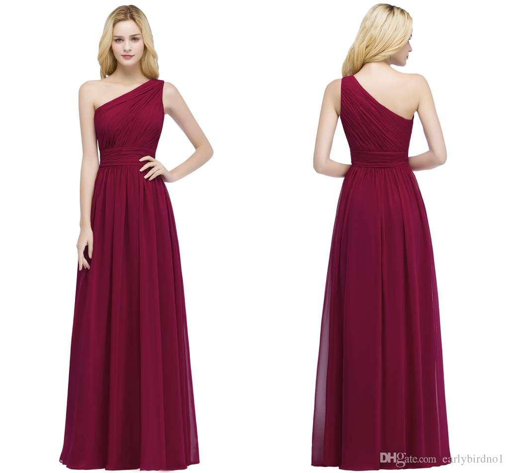 9970c67aa6 2018 New Elegant One Shoulder Chiffon Bridesmaid Dresses Cheap Ruffle Long  Formal Maid Of Honor Gowns Burgundy In Stock Cps878 Lace Bridal Gowns Plus  ...