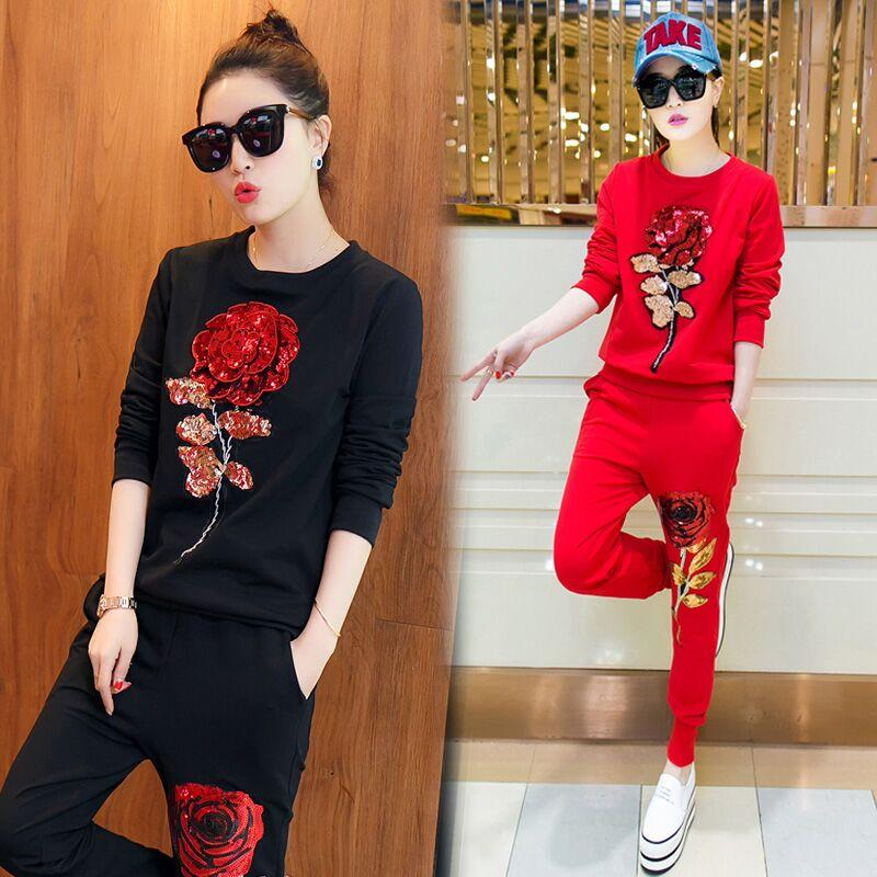 2016 New Spring Leisure Retro Sweat Suit Female Rose Flower Sequin Casual Female Suit 2 Piece Set Women Flowers Sequin Tracksuits