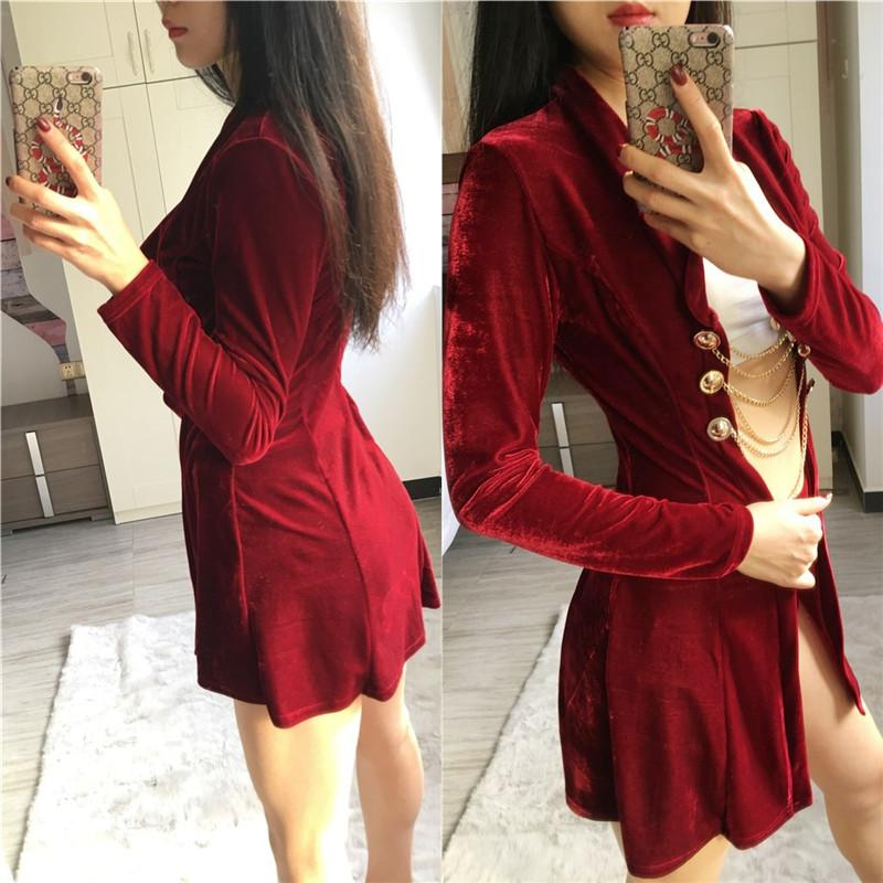 Winter Velvet Suit Women Long Sleeve Chain Button Long Jacket Tops and Short Sexy Party Outfit Fashion Two Piece Set Ladies Suit