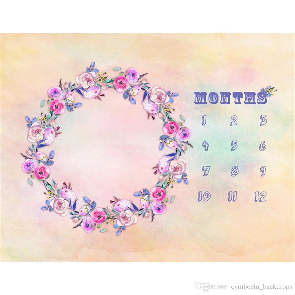 2018 Pastel Pink Color Baby Newborn Calendar Photography Backdrops