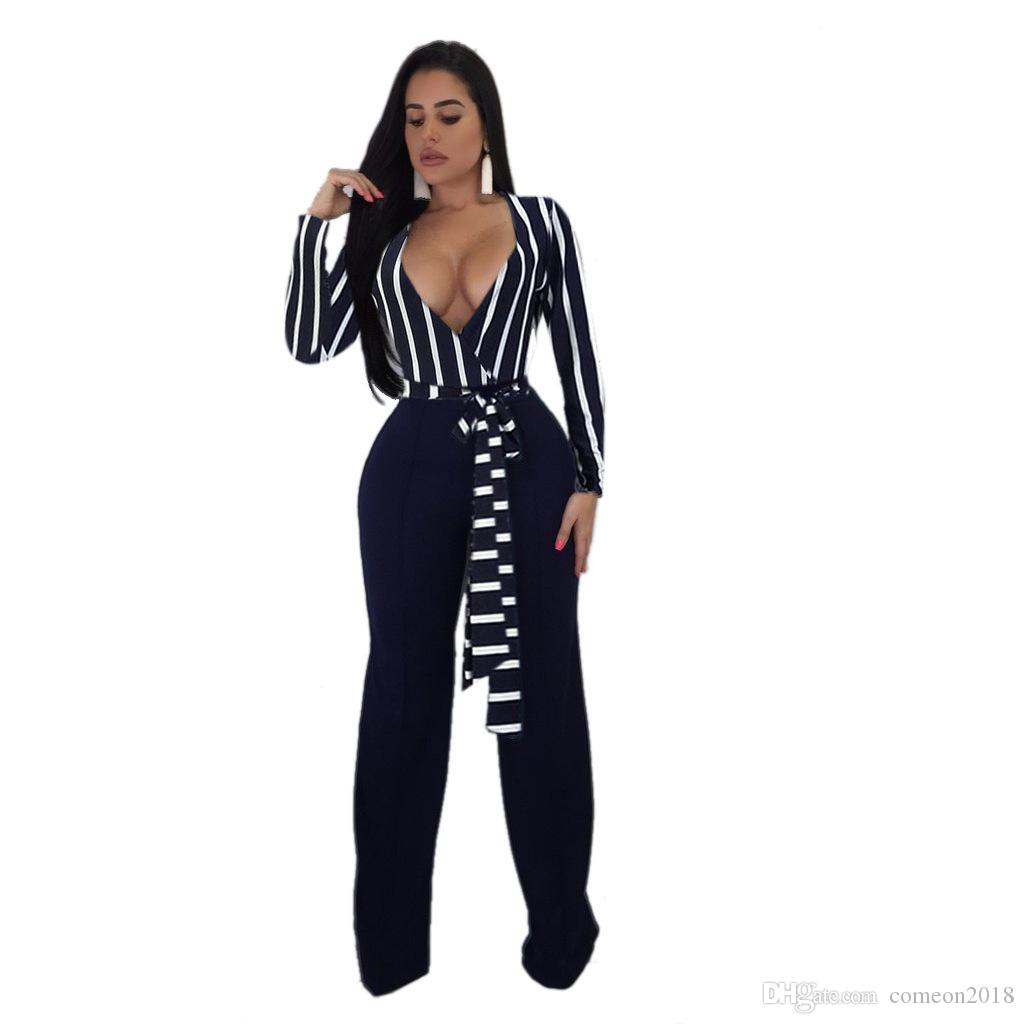 add7f05453d 2019 Designer Women Clothes Sexy Women Jumpsuits Striped Deep V Neck High  Waist Belt Full Sleeve Fashion Bodycon Pants Black White Rompers 8291 From  ...