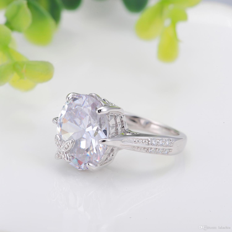 2018 Star Harvest Big Diamond Wedding Ring Wholesale 18K Platinum