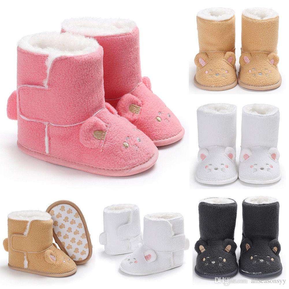 df66bab29495 New Toddler Baby Boy Girl Winter Warm Snow Boots Infant Soft Sole Slipper  Crib Shoes Cute Bowknot Cartoon Baby Shoes Little Girls Dress Boots Boots  Toddler ...