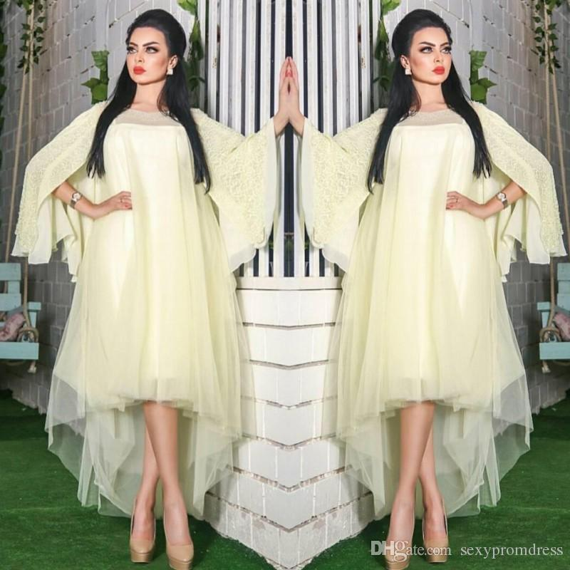 Saudi Arabic Light Yellow Prom Dresses Lace Loose Sleeves High Low