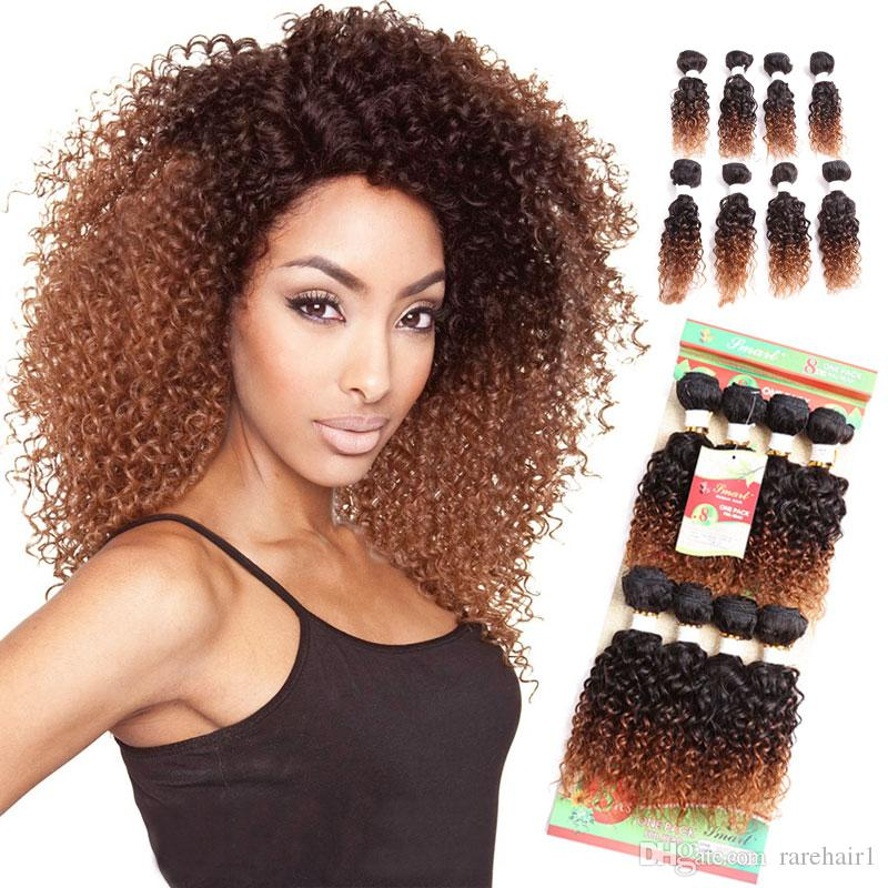 ac30e3cd04 2019 Jerry Curl Synthetic Hair Weave Bundles Sew In Hair Extensions Ombre  Bug And Brown  Pack 1 Pack Full A Head From Rarehair1