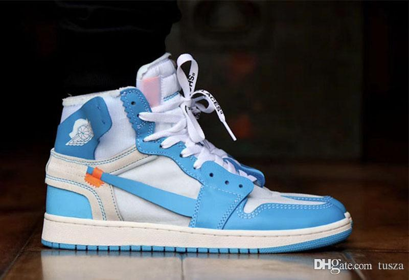 464da9ca673 2019 Newest Sale 1 WHITE/DK POWDER BLUE CONE UNC 1S Men Basketball Shoes  Outdoor Sneakers Limited Release AQ0818 148 With Original Box Quality From  Tusza, ...