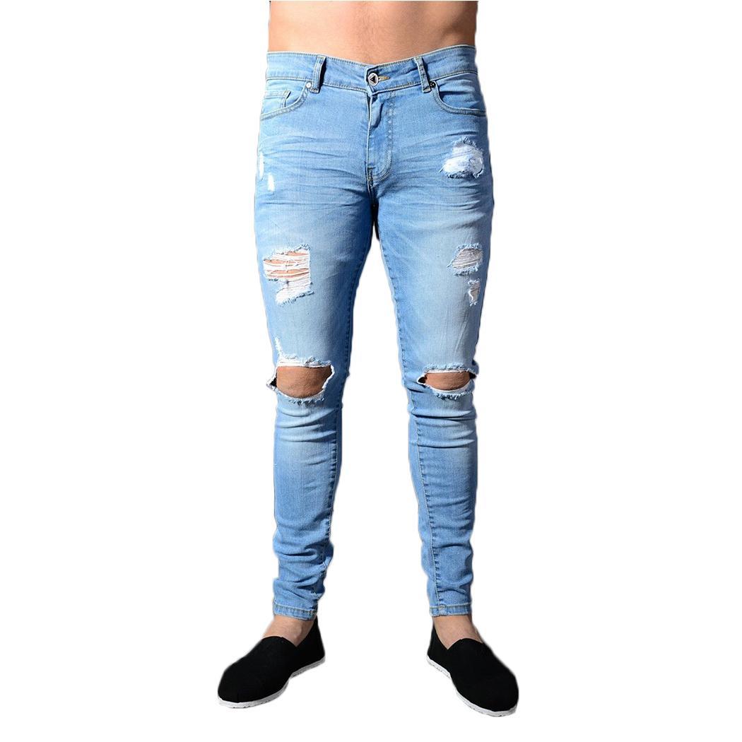 Compre Nuevo 2018 Marca De Moda Hombres Jeans Apenado Ripped Holes  Pantalones De Mezclilla De Alta Calidad Slim Fit Skinny Jeans Mens Homme  Streetwear A ... 9f20b6f741fc