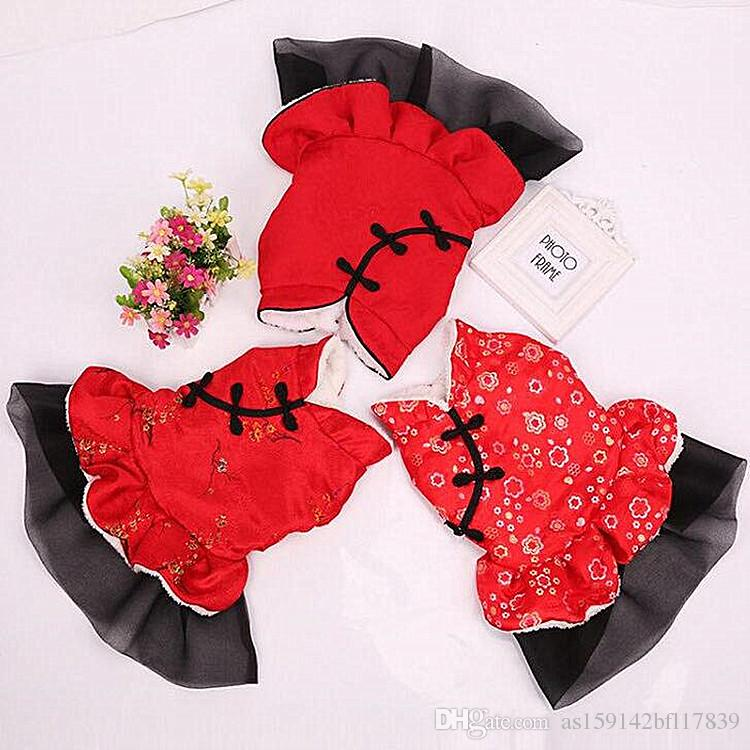New Chinese style new year leisure red pet Tang suit dog skirts autumn and winter Teddy clothes thick disc buckle dress
