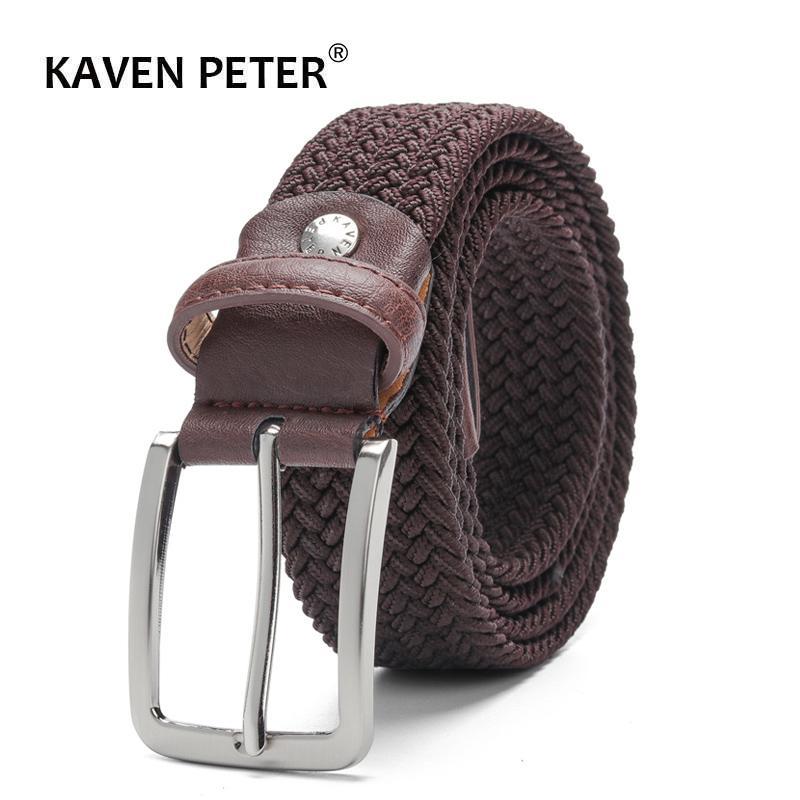 Compre Cinturón Elástico Para Hombres Y Para Mujeres Cinturón De Cintura  Estiramiento De La Lona Tejido Trenzado De Cuero 1 3   8 Ancho Marrón  Oscuro ... 9290dd7d46cb