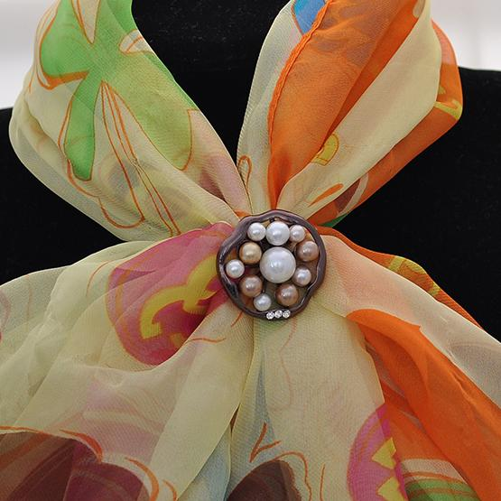 Personalized new chocolate golden silk scarf two with pearl drill, BROOCH SCARF manufacturer wholesale