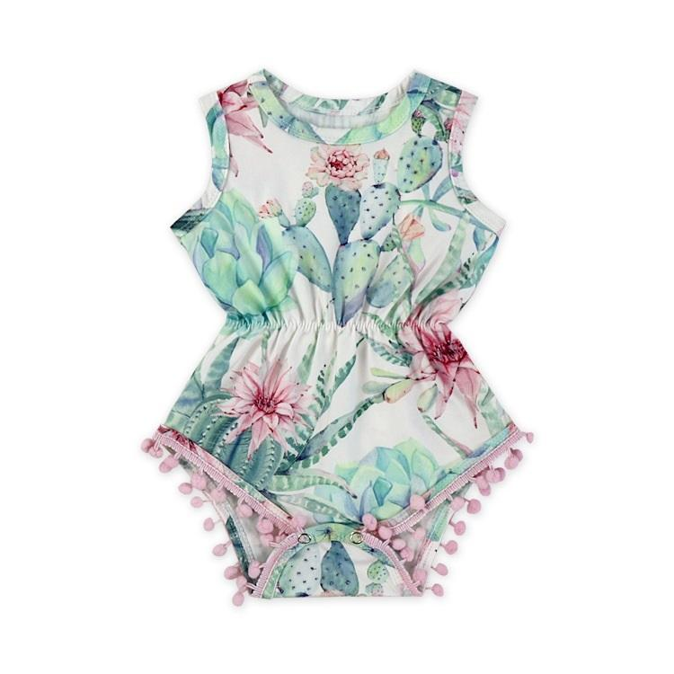 eacf47906573 Vieeolove Ins Baby Girl Clothes Flower Floral Tassels Rompers 2018 ...