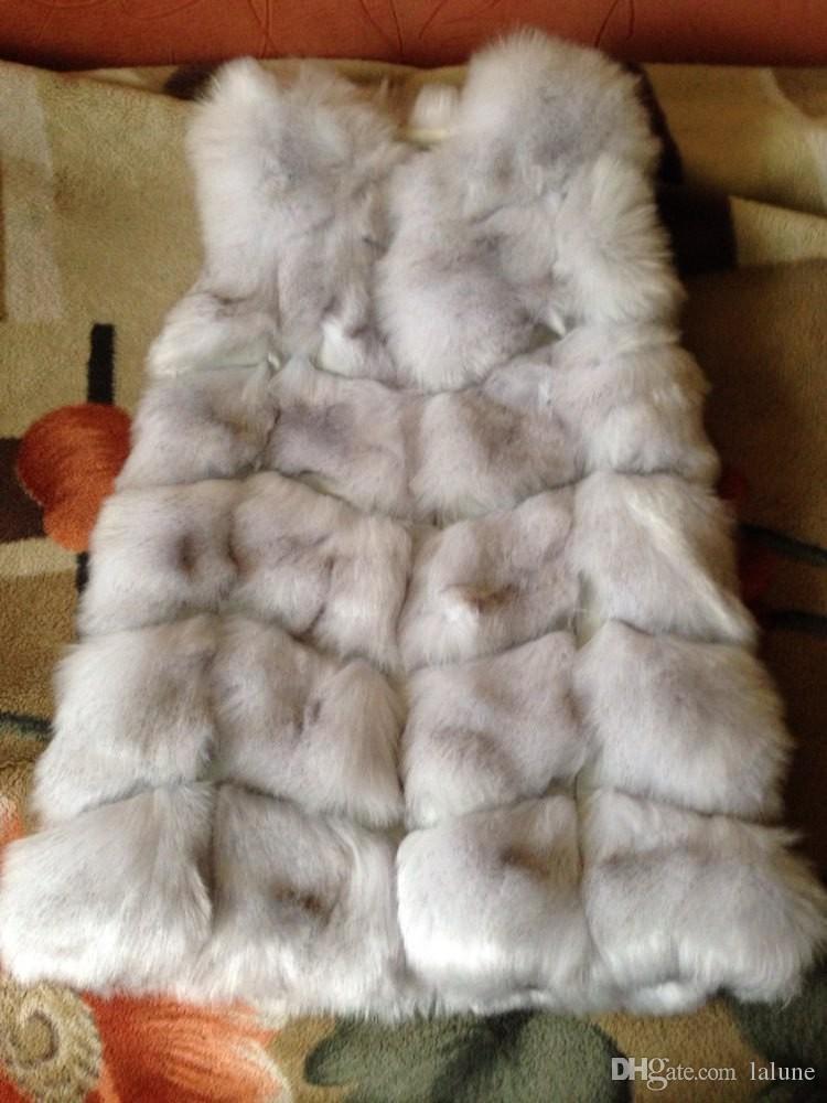 Bianco / Nero Coniglio Donna Inverno maglia della pelliccia di Fox della maglia Plus Size reale Naturale Coniglio cappotto di pelliccia giacche lunghe Colete