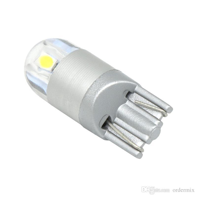 2 قطع t10 led أبيض / أزرق / أصفر / الجليد الأزرق / الأحمر 2smd 3030 w5w أضواء السيارات الجانبية ماركر بدوره الجانب لوحة ترخيص ضوء مصباح لمبة dc 12 فولت