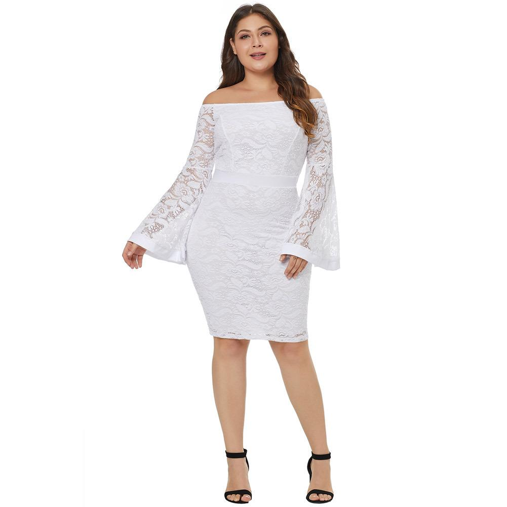 9faededa8f89f 2018 autumn large size fat women s dress Fashion Sexy lace off-the-shoulder  collar horn long-sleeved high-rise slim Plus Size Party dress