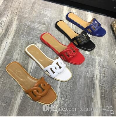 64a00e613 H Letter Brand Slippers Women Slides Flat Heel Leather Summer Sandals Black  Sliver Red Orange White Summer Gladiator Ladies Beach Slippers Shoe Sale  Shoes ...