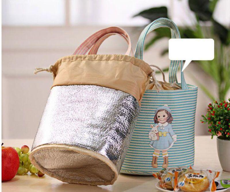 Cute Canvas Cartoon Girl Lunch Bags Portable Storage Bags Thicker Insulation Bags Handbags Waterproof ZA6847