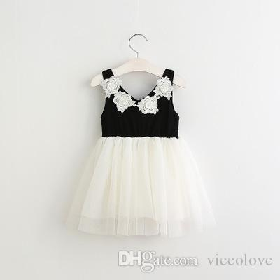 48f34d5135 2019 Vieeolove Baby Girls Lace Tutu 2018 New Spring Summer Dresses  Childrens Sleeveless Kids Clothing Flower Floral Vest Bow Black Dress EC  082 From ...