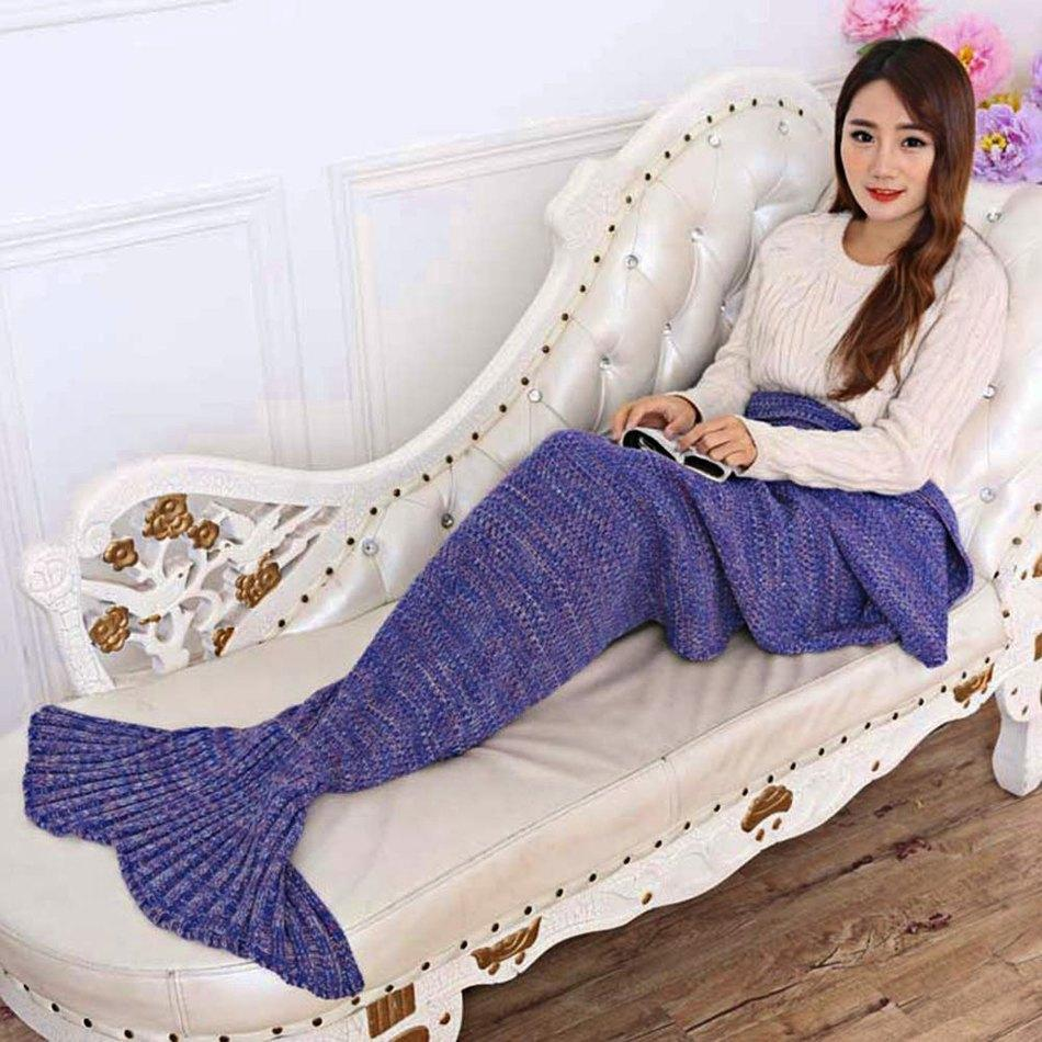 Wholesale- 7 Colors Yarn Knitted Mermaid Tail Blanket Super Soft Sleeping Bed Handmade Crochet Anti-Pilling Portable Blanket