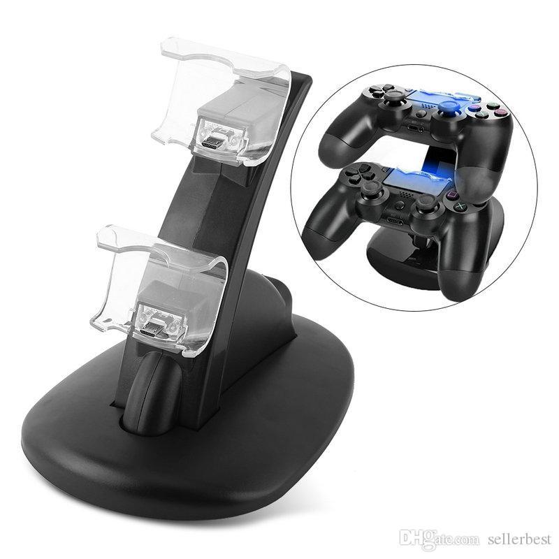 PS4 Controlador LED Cargador Dock Station Soporte de carga USB doble para PS4 Slim Pro Controlador inalámbrico Accesorios