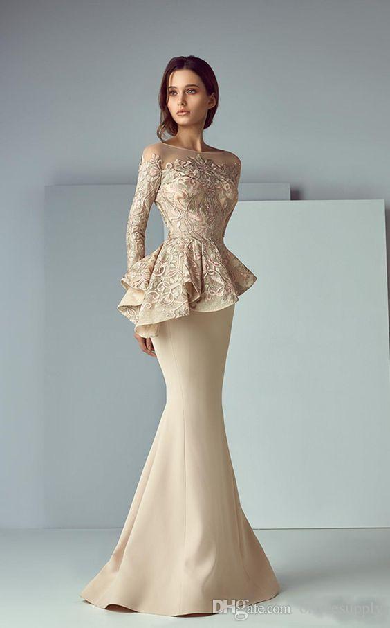 Abiti da sera in pizzo Champagne Peplum Prom Dresses 2019 Collo a maniche lunghe Dubai Dubai Mermaid Long Evening Formal Gowns