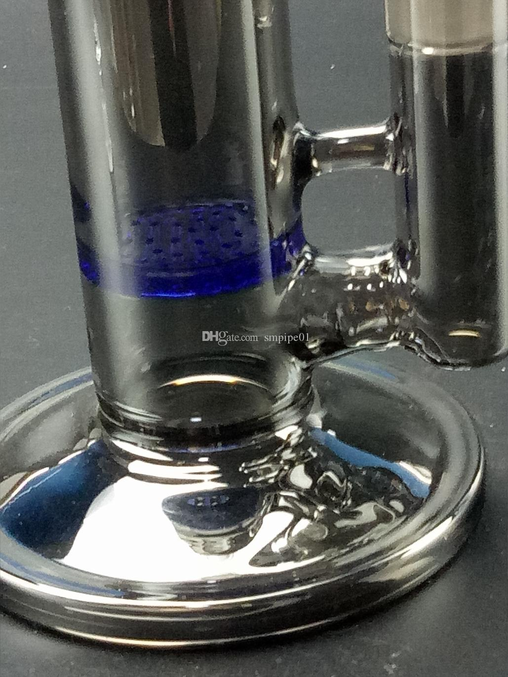 Flush black socket glass water bong with blue Perc & Honeycomb filter net Dab Oil Rigs Joint free ship