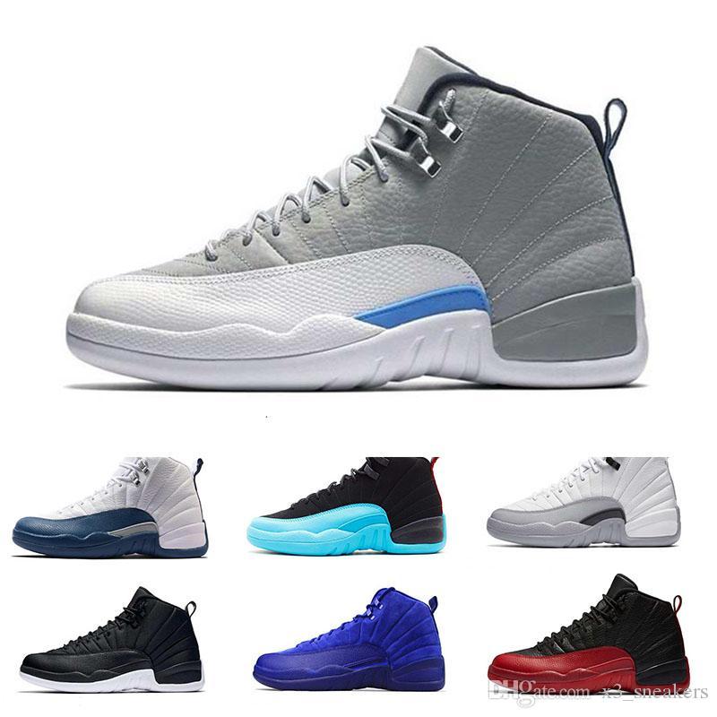 factory price 47175 e2a26 Großhandel Großhandel 2018 Herren Nike Air Jordan 12 Basketball Schuhe Deep  Blue Suede Taxi Weiß Schwarz Nylon Grippe Spiel Französisch Sport  Turnschuhe Eur ...