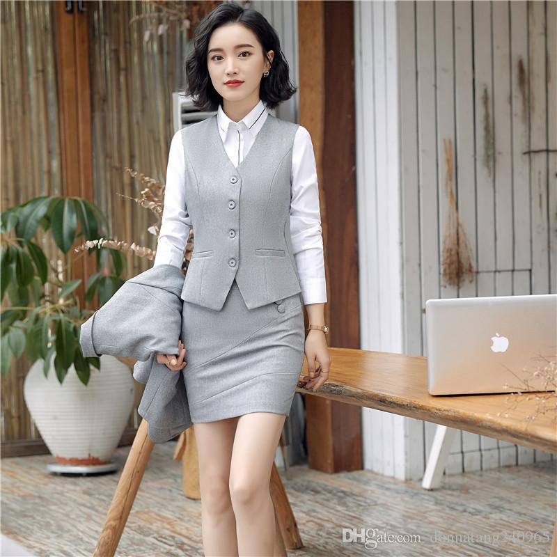 7127fc0d3ac4 2019 New Fashion Work Wear Women Office Clothing Vest Skirt Pant Suits  Office Uniforms Female Plus Size Vest With Skirt Pant Sets From Dujotree
