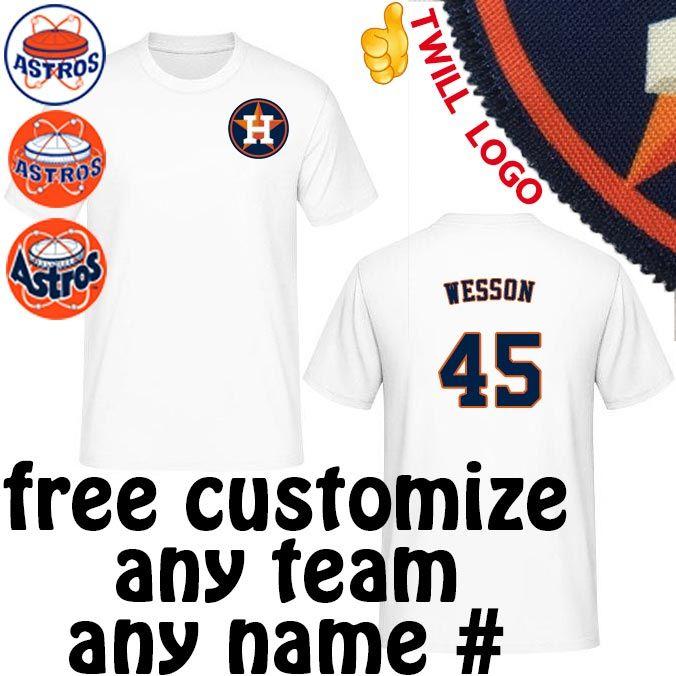 san francisco 01cba 23891 Houston Astros Shirts Barry Wesson|Wilfredo Rodriguez|Brian Powell|Chris  Holt tshirts tees Sewn On Twill Astro's Logo JERSEYS t-shirt