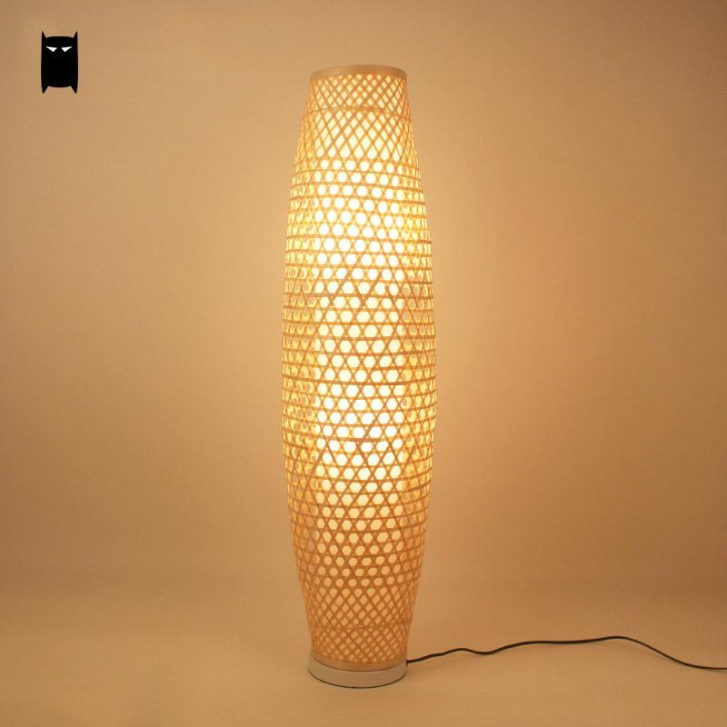 2018 Bamboo Wicker Rattan Shade Vase Floor Lamp Fixture Rustic Asian