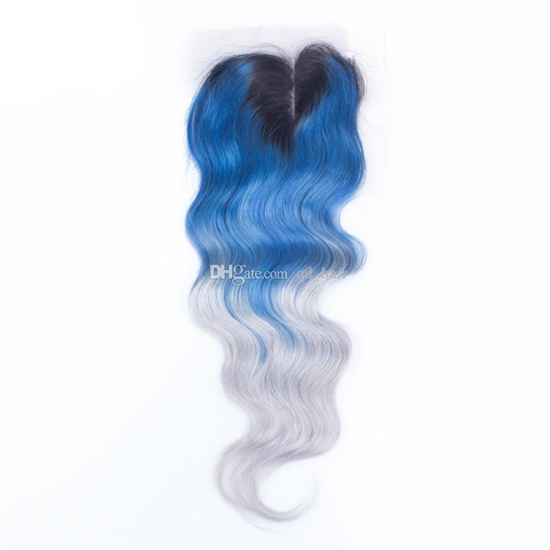 Ombre 1B Blue Grey Human Hair 3Bundles Extensions With Lace Closure Dark Roots Body Wave Virgin Hair Weft Extension With Lace Closure 4x4