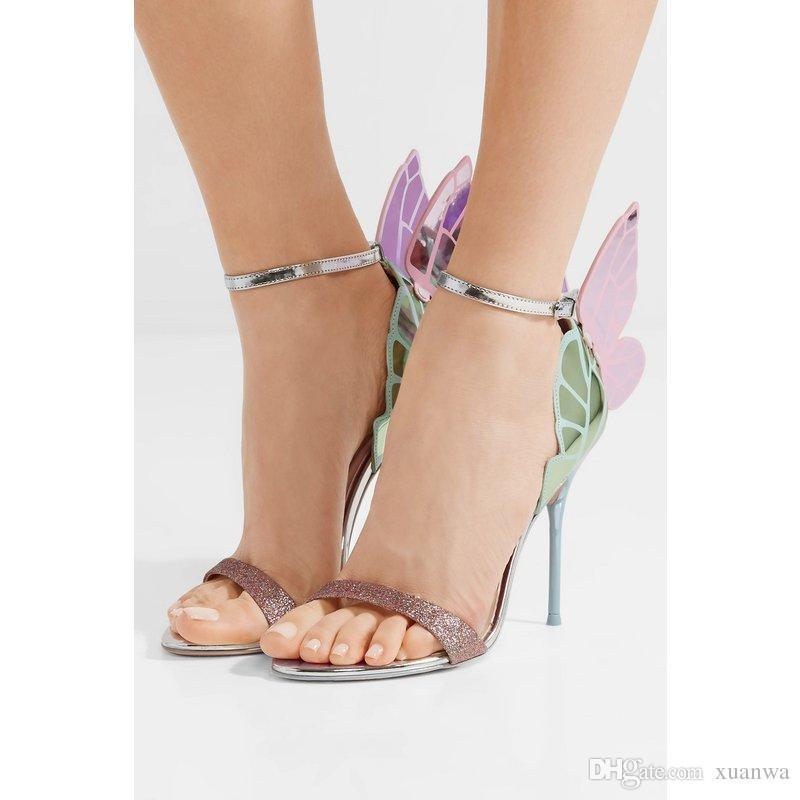 2018 yeni Sophia Webster Kelebek Kanatları Kadın Yüksek Topuklu Papyon Yaz Ayakkabı Sandalet Kadın Burnu açık Ayak Bileği Kayışı ilmek Parti Ayakkabı Pompalar