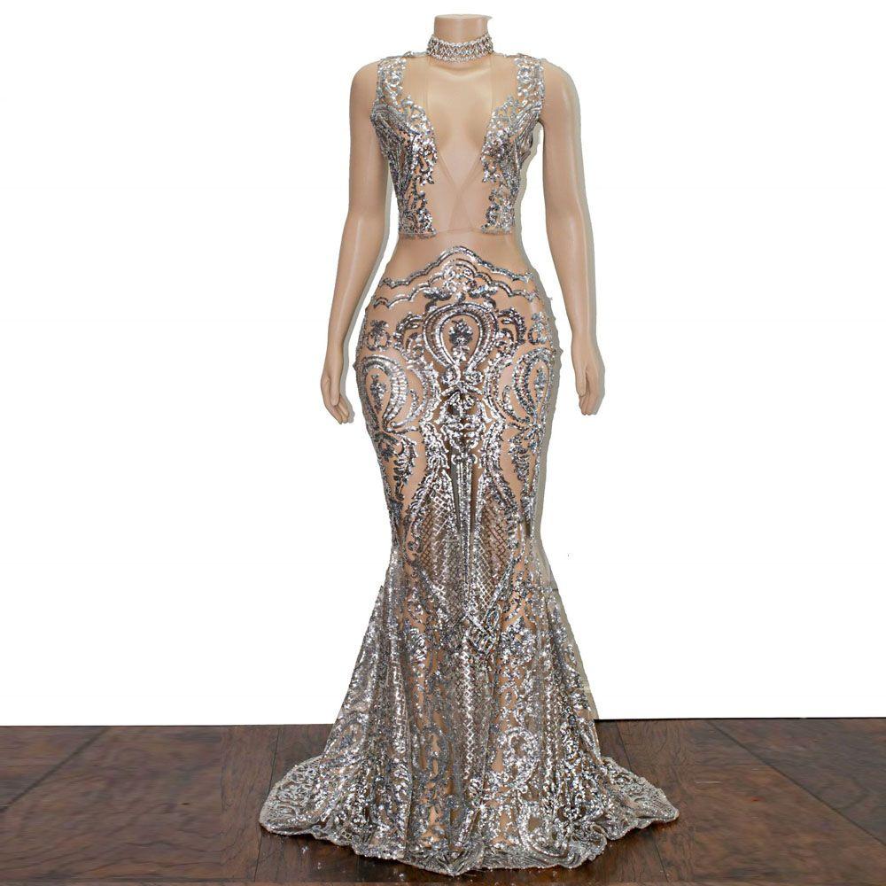 bd06006ccc565 Elegant Illusion Evening Dresses 2018 Deep V-Neck Luxurious Beading Mermaid  Prom Dresses Long vestido de festa Long Women's Guest Dresses