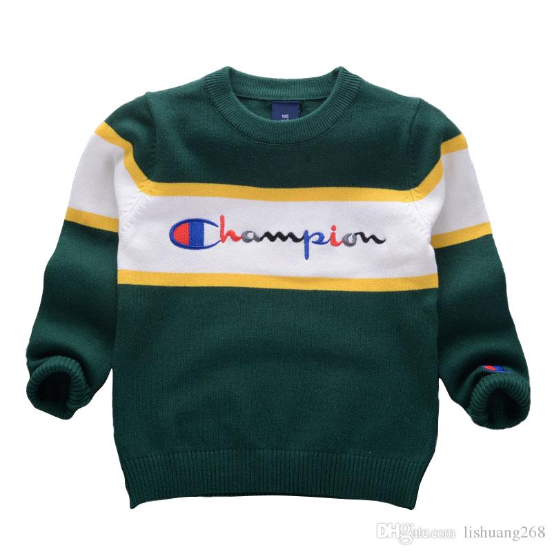 ad8129f00dca Korean Style 2018 Autumn Winter Boys Girls Sweaters Champion Baby Stripe  Pullover Knit Kids Clothes Embroidery Letters Student Clothing Kids Shrug  Sweater ...