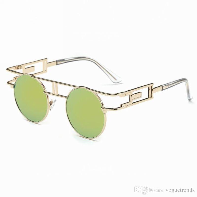 423e16511d Steampunk Gothic Retro Round Metal Frame Sunglasses For Women Circle ...