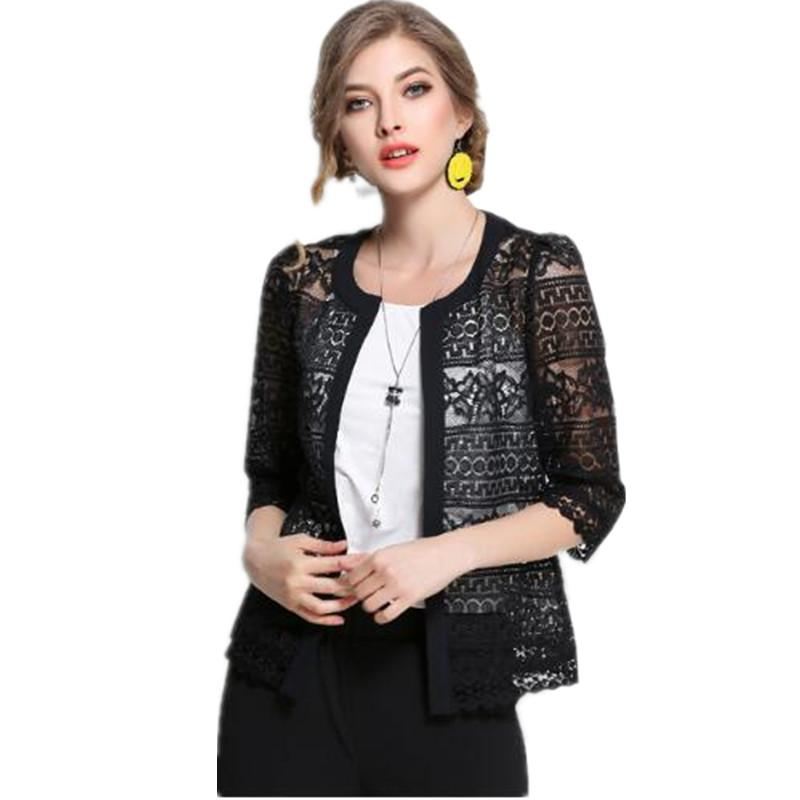 Shrugs for women 2018 Europe and The United States Female Plus Size Spring Shirt Women poncho Hollow Big Solid Lace Shirt