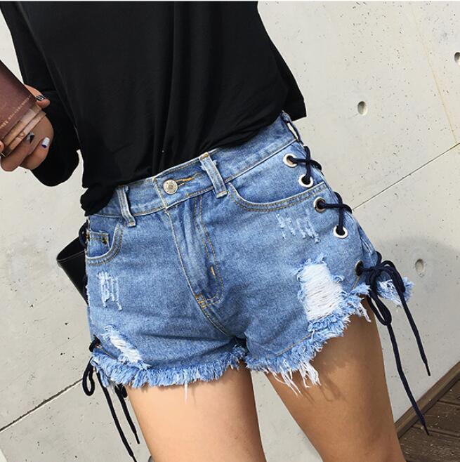 2019 2017 AA Denim Shorts Summer Style Retro High Waist Stretch Denim  Shorts Slim Women Bondage Cross Jeans From Genguo, $22.13   DHgate.Com
