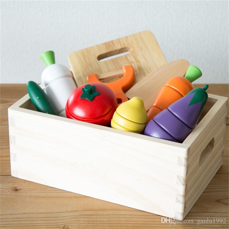 Vegetables Fruit Cut Toys For Kid Wooden Learning Education Kitchens Play Food Play House Toy New Arrival 30xq W