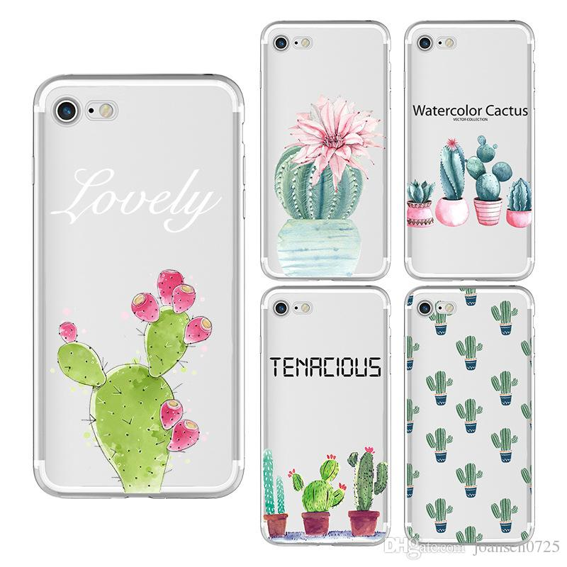 For iPhone X 6 6S 7 8 Plus Xs Max Xr Samsung Galaxy S8 S9 Note 8 9 Soft TPU Watercolour Cactus Painted Cell Phone Case Silicone iphone Cover