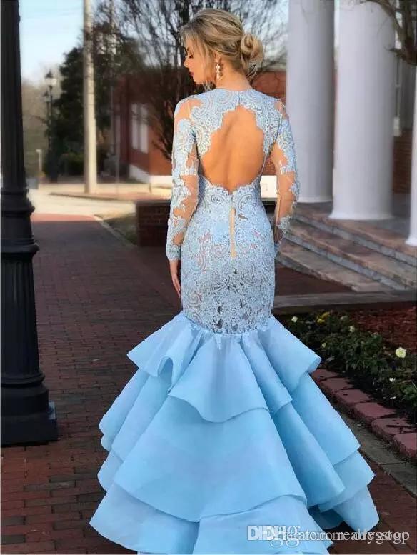 Light Sky Blue Mermaid Prom Kleider mit langen Ärmeln 2019 Modest Jewel Keyhole Back Fishtail Rüschen Rock Formale Abendkleider