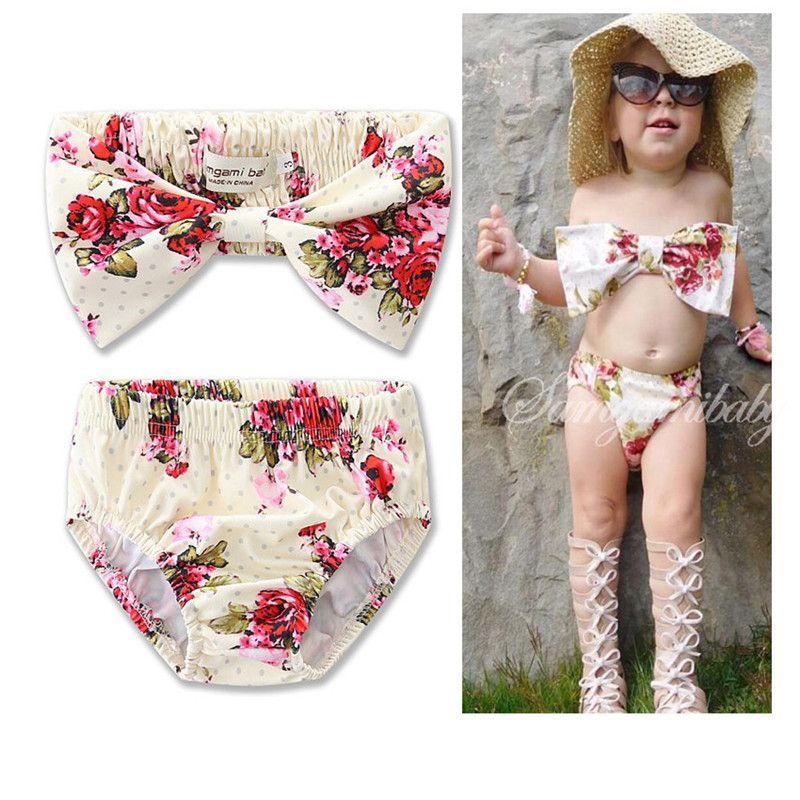 kids girls Swimwear Flower printed Toddler Baby two-piece swimming suit summer striped beachwear Swimsuit Bikini Tankini Swimwear SET ins