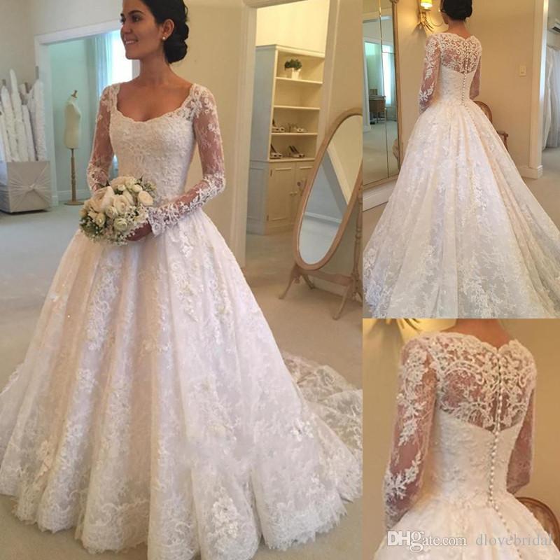 1665328727 Vintage Lace Wedding Dress with Long Sleeves Illusion Scoop Neck Factory  Custom Made Robe De Mariage Vestido De Novia Princess Bridal Gown