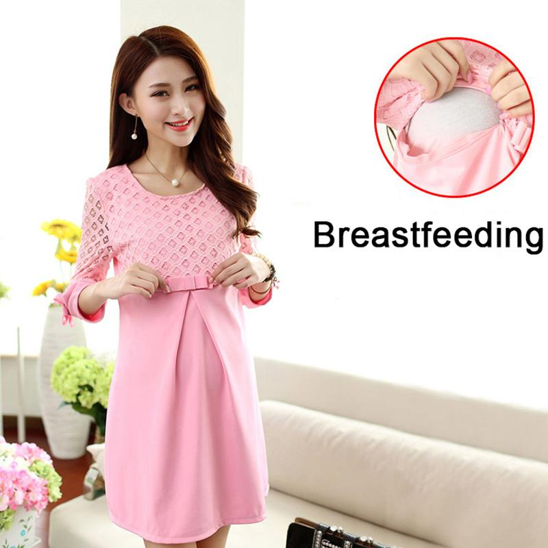 6dfe660158d 2019 Autumn Winter Pregnancy Dress Breastfeeding Maternity Dresses Pink  Maternity Blouse Lace Pregnant Women Dresses Nursing Dress From Heathera