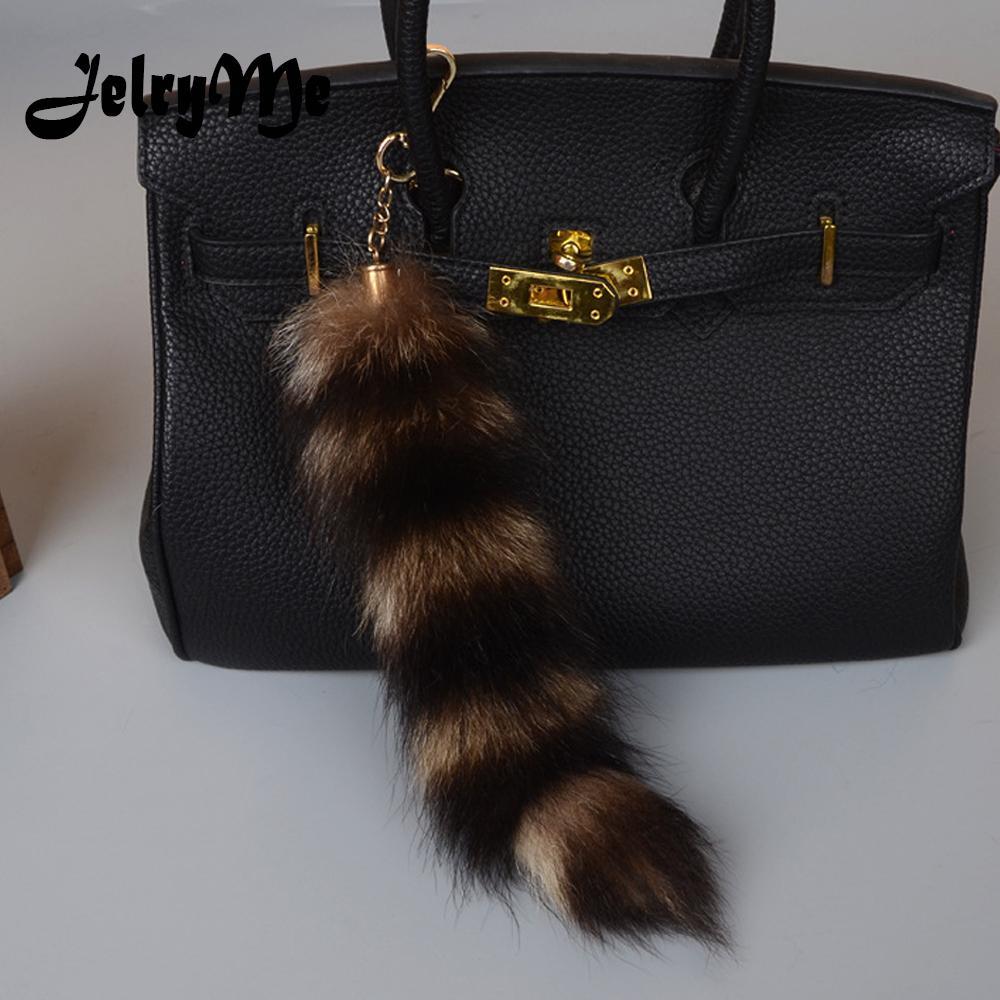 0b5346e3d 25CM Length Real Raccoon Fur Stripe Tail Keychain Charms Women Handbag  Pendant Pompom Key Rings Car Styling Tassel Key Chians Keychain Camera  Photo Keyrings ...