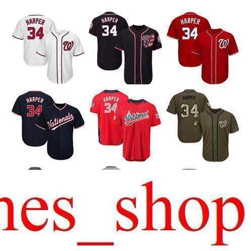 brand new 09d3c 25653 Men Women Youth Nationals Jerseys 34 Harper Baseball Jersey White Gray Grey  Red Navy Blue Green Salute to Service Players Weekend All Star