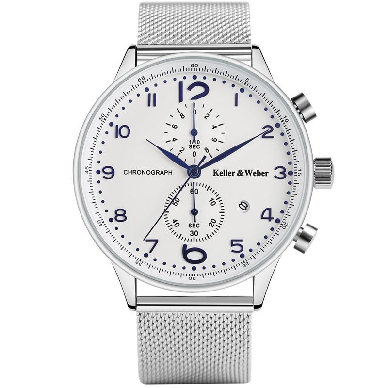 Flash Sale Cost-effective Watches for Men Luxury Man s Wristwatch Calendar  Chronograph Quartz Clocks with Silver Stainless Steel Watchband Watch Men  Luxury ... 9fd98a8704