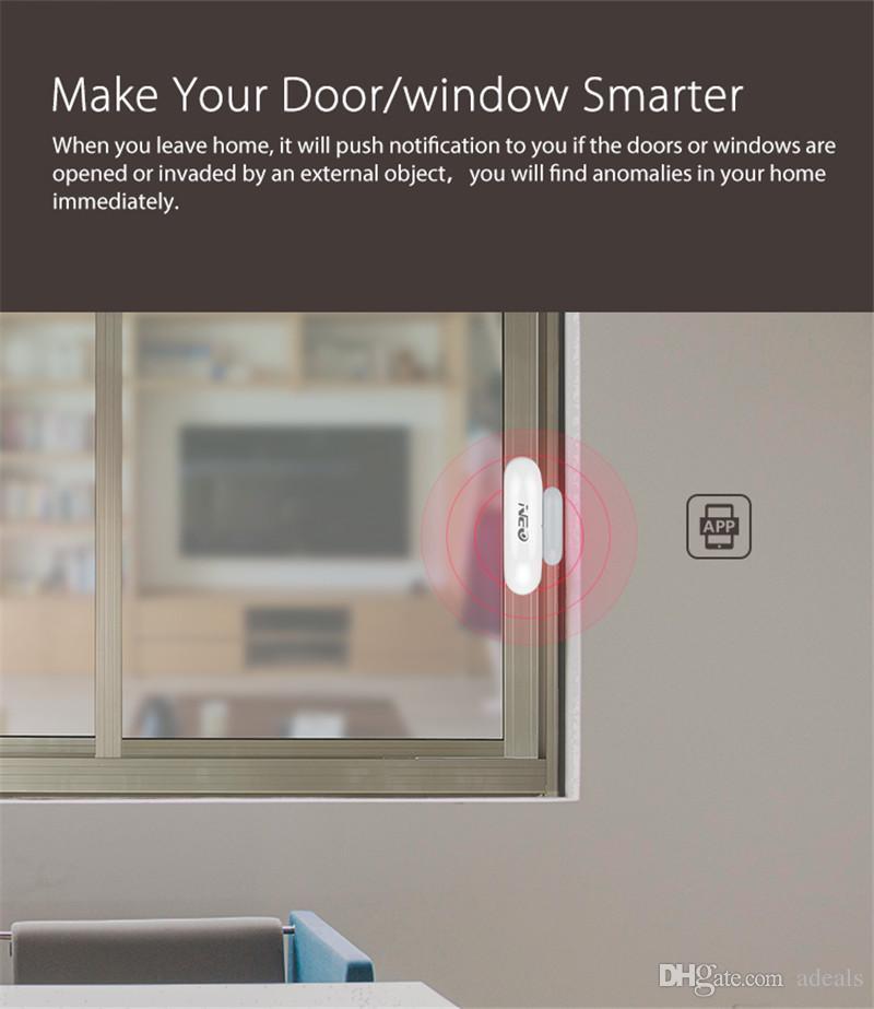 Sensor NEO COOLCAM NAS-DS01W WiFi ventana de la ventana de trabajo con Amazon Alexa, Asistente Goole, IFTTT, sin necesidad de centro costoso