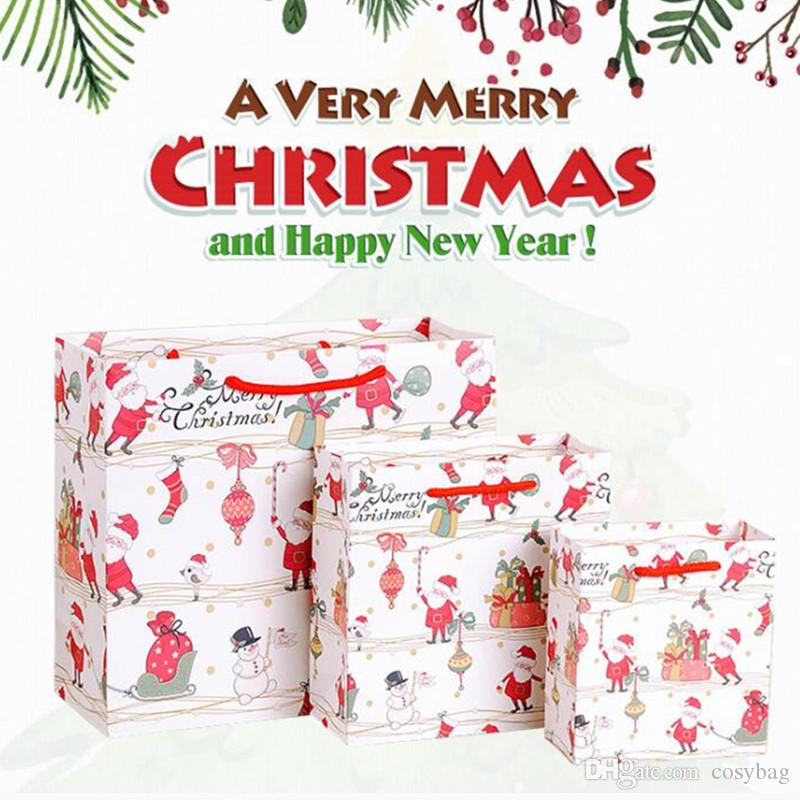 Medium Cheery Holiday Bags,Large Christmas Gift Bags, Snowflakes and Merry Xmas Paper Gift Packing Bags 0304